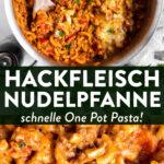 One Pot Pasta mit Hackfleisch: Hackfleisch Nudelpfanne mit Paprika - Pin