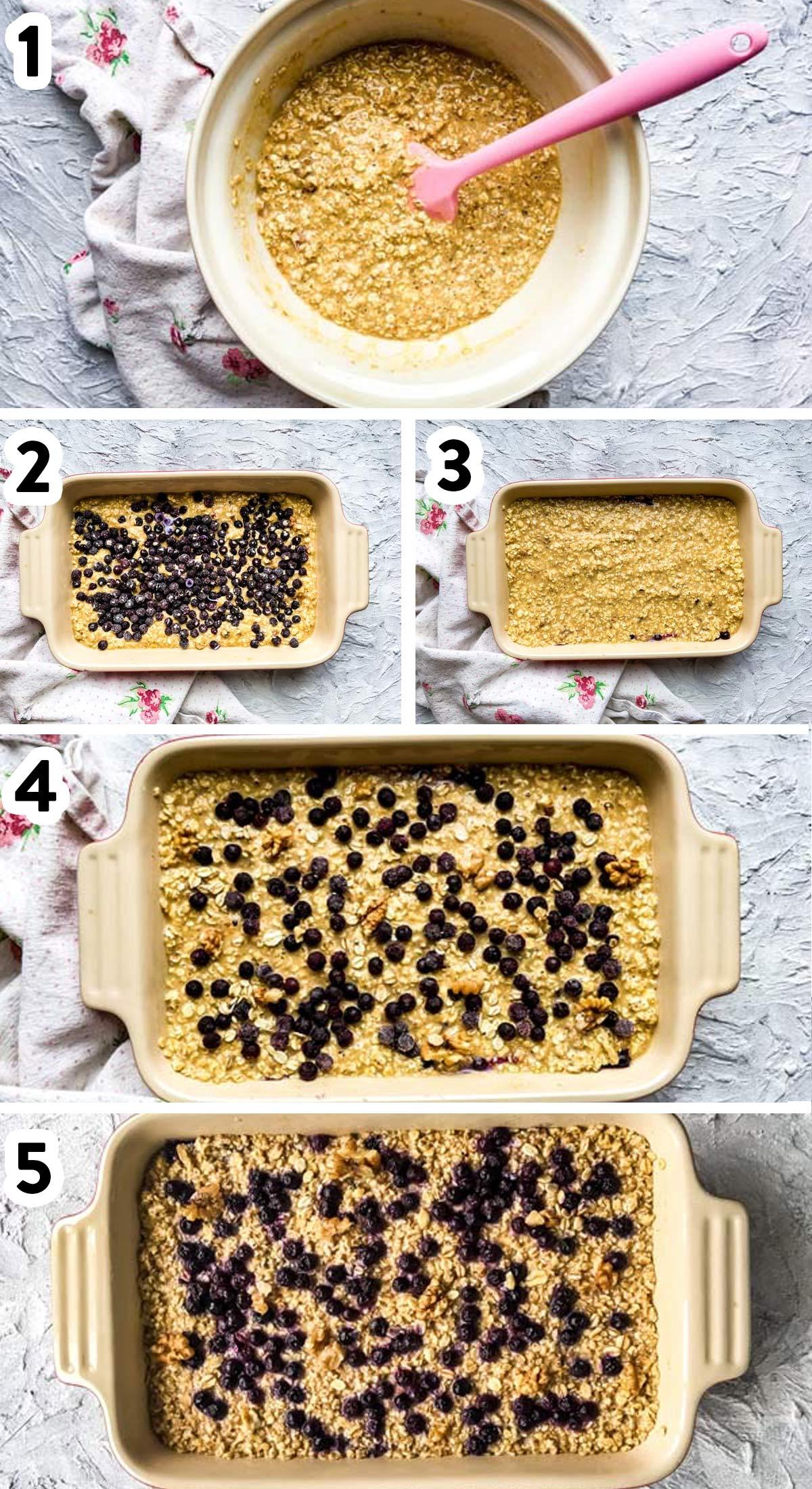Schritt-Anleitung zu Baked Oatmeal mit Blaubeeren