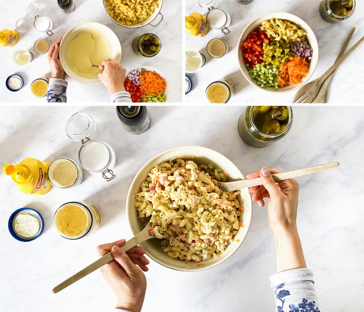 Zusammenstellung von Bildern, die die Zubereitung von Nudelsalat zeigen