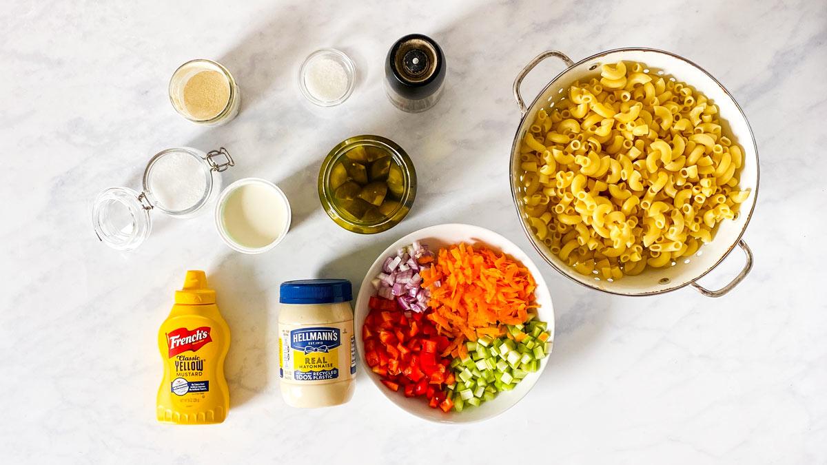 Zutaten für Nudelsalat