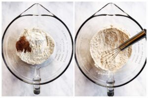 trockene Muffinzutaten in Glasschüssel gemischt