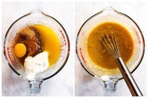 nasse Muffinzutaten in Glasschüssel gemischt
