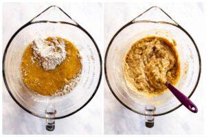 Muffinteig in Glasschüssel vermischt
