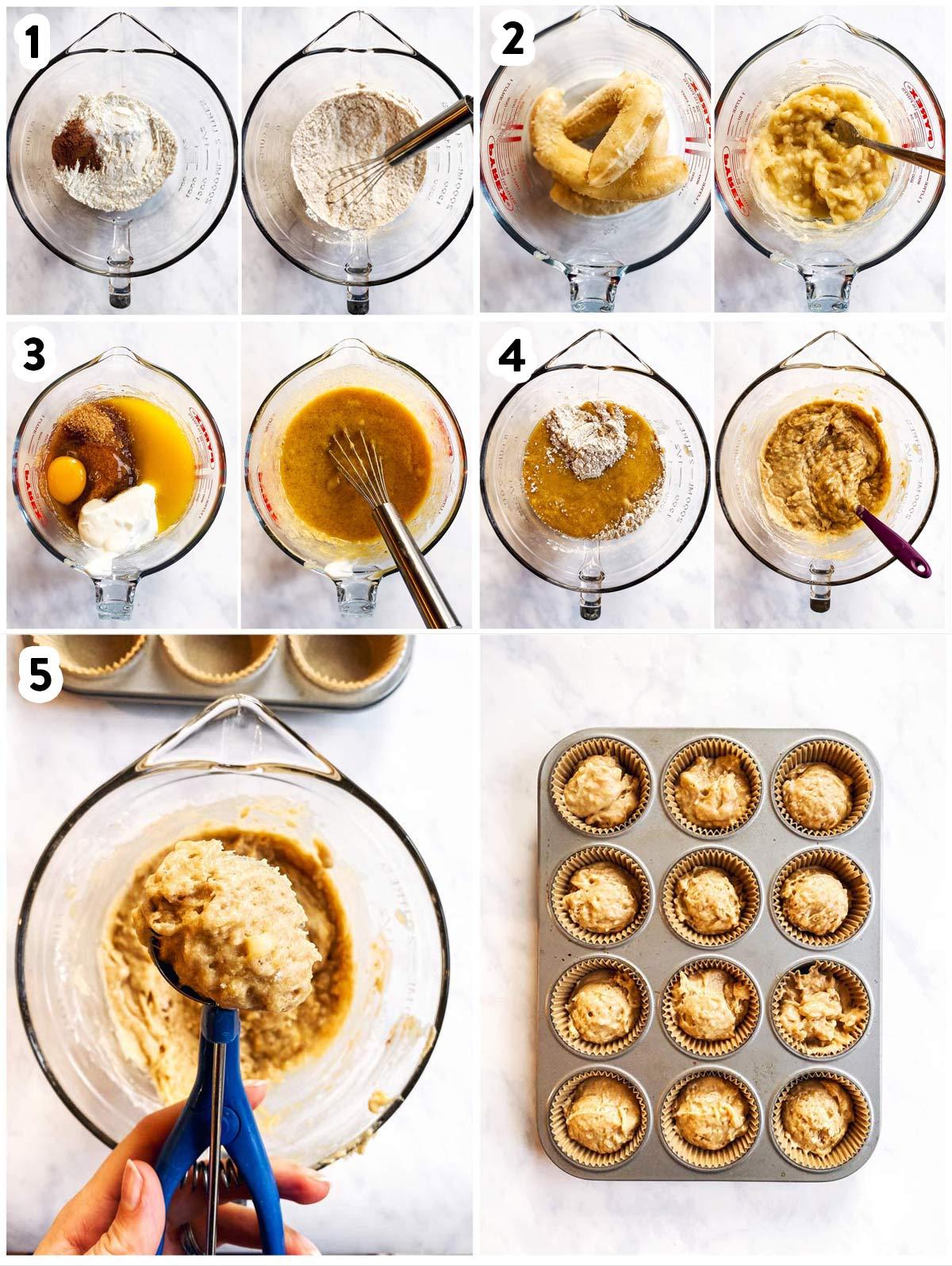 Bild-Collage mit Schritten, um Bananenmuffins zu backen