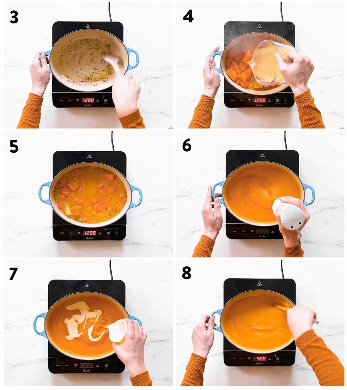 Schritte zum Zubereiten einer Butternuss Kürbissuppe